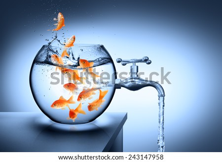 wasted water - waterless risk concept - stock photo
