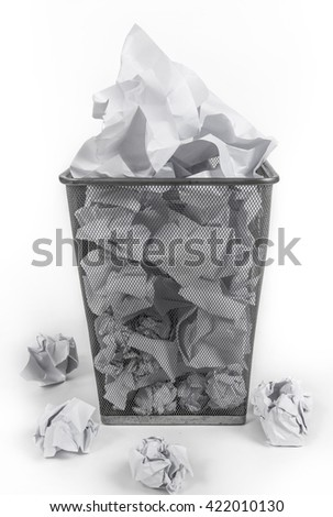 Wastepaper Basket Full, on white background.