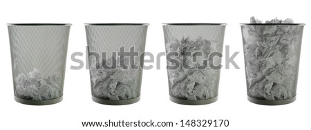 wastepaper baskets on pure white background