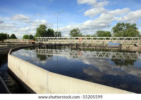 Wastewater treatment plant - stock photo