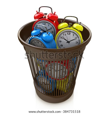 Wasting time concept: alarm clocks in the trash bin in the design of the information related to the concept of loss of time - stock photo