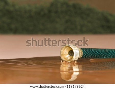 Wasting water. Close up of water flowing from a garden hose on the pavement. Eye level view as water spills from the hose. Reflection of the hose on the pavement. Concept of wasting or saving water. - stock photo