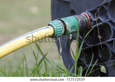 Wasting Water In The Garden, Water Leaking From A Garden Hose Spigot.  Plastic Gardening