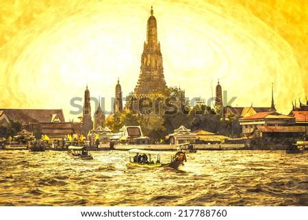 Wat Arun beside Chao Phraya River in sunset at Bangkok, Thailand. Watercolor. - stock photo