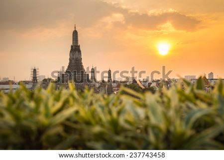 Wat Arun Buddhist religious places in sunset time, Bangkok, Thailand