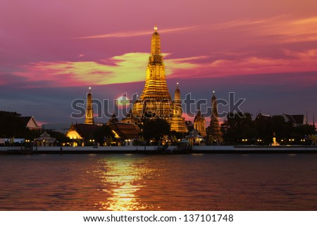 Wat Arun in sunset - stock photo