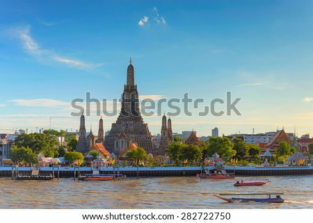Wat arun in sunset at Bangkok,Thailand - stock photo