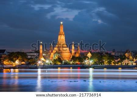 Wat Arun in the evening, Bangkok, Thailand - stock photo