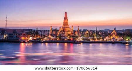 Wat Arun night view Temple in bangkok, Thailand - stock photo