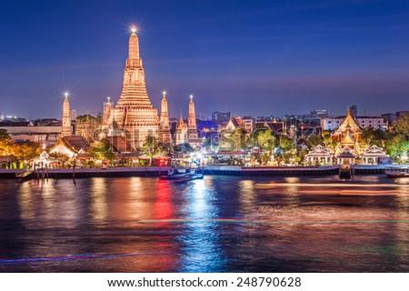 Wat Arun night view Temple in bangkok, Thailand - stock photo