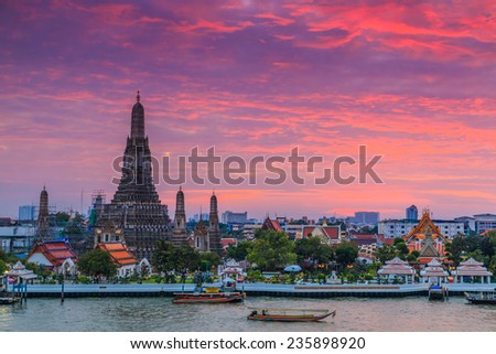 Wat Arun Ratchawararam Ratchawaramahawihan or Wat Arun (Temple of Dawn) at sunset, Bangkok, Thailand,They are public domain or treasure of Buddhism, no restrict in copy or use  - stock photo