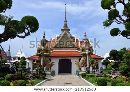 Wat Arun ratchawararam Ratchaworamahawihan or Wat Arun location at Chao Phraya Riverside in Bangkok Thailand . One of the most attractive temples in Thailand. - stock photo