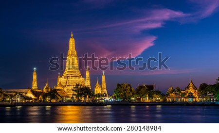 Wat Arun Temple at twilight in Bangkok, Thailand. - stock photo