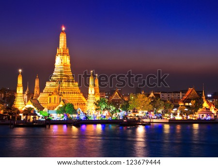 Wat Arun Temple in bangkok thailand - stock photo