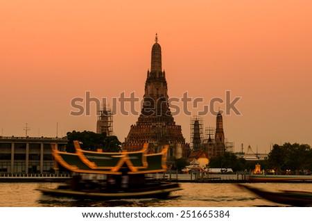 Wat Arun Temple in bangkok thailand. after sunset time - stock photo