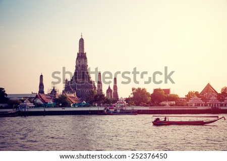 Wat Arun temple in Bangkok, Thailand. Vintage filter - stock photo
