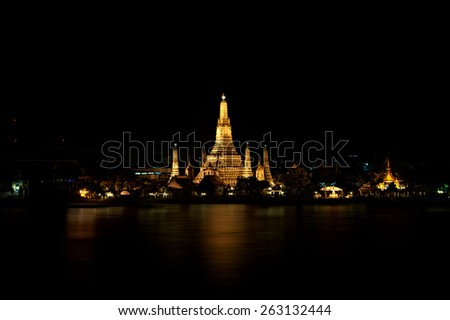 Wat Arun Temple landmarks of bangkok Thailand - stock photo