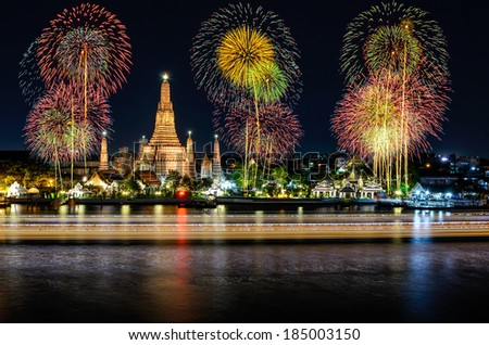 Wat arun under new year celebration time, Thailand - stock photo