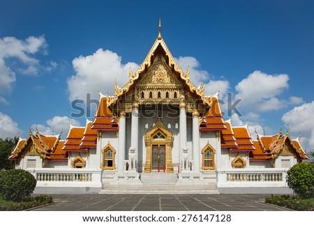 WAT BENCHAMA BOPHIT DUSIT WANARAM (MARBLE TEMPLE) BANGKOK, THAILAND - stock photo