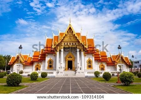 Wat Benchamabophit, Bangkok, Thailand - stock photo
