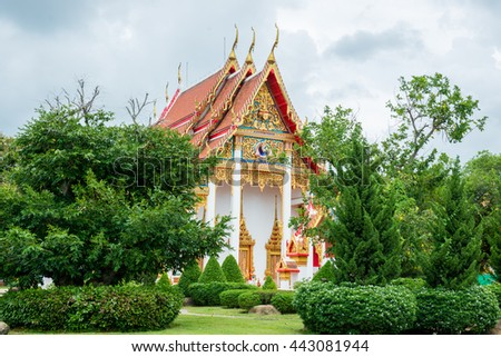 Wat chaiharam or Wat Chalong temple in Phuket asia thailand - stock photo