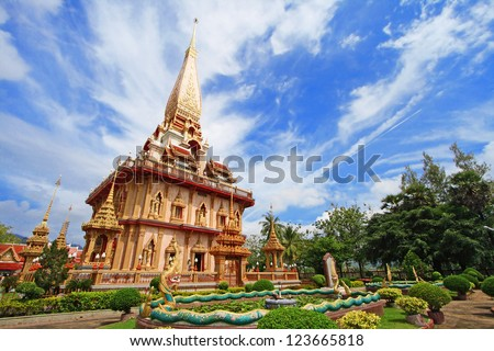 WAT CHAITHARAM or Wat Chalong TEMPLE in Phuket thailand - stock photo