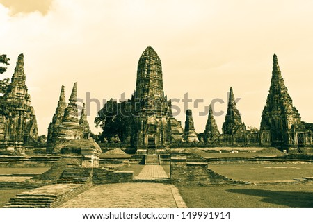 wat chaiwatthanaram,ancient architecture central of Thailand