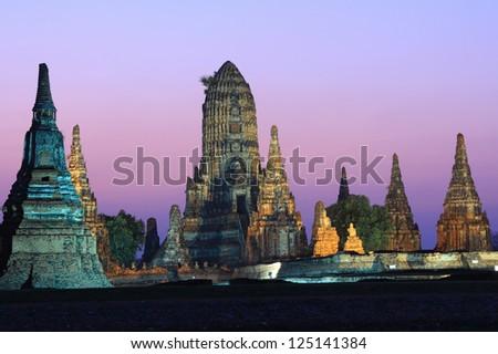 Wat Chaiwatthanaram at Ayutthaya in Thailand - stock photo