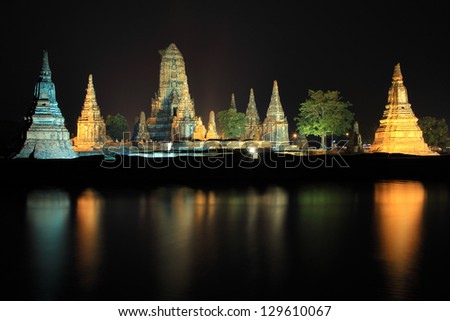 Wat Chaiwatthanaram at twilight in Ayutthaya , Thailand