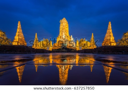 Wat Chaiwatthanaram of Ayutthaya Province ( Ayutthaya Historical Park ) in Thailand,Thailand architecture of ancient thai.