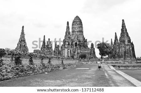 Wat Chaiwatthanaram Temple Black and White style. Ayutthaya Historical Park, Thailand. - stock photo