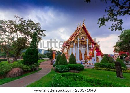 Wat chalong temple Phuket evening light THAILAND,PHUKET LANDMARKS - stock photo