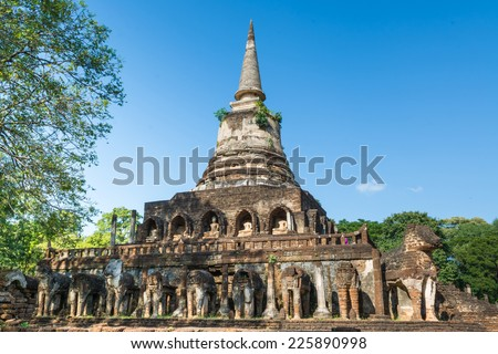 Wat Chang Lom at Si satchanalai historical park - stock photo