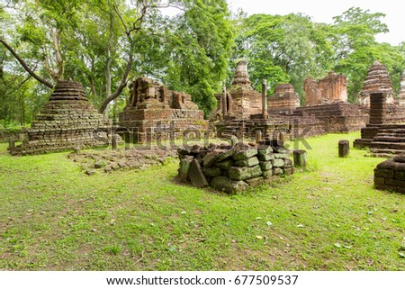 Wat Chedi Chet Thaew is a Temple in Si Satchanalai Historical Park, there are twenty six models pagoda like a lotus Buddha pagoda behind the temple, which is the old art of Sukhothai Buddha pagoda.