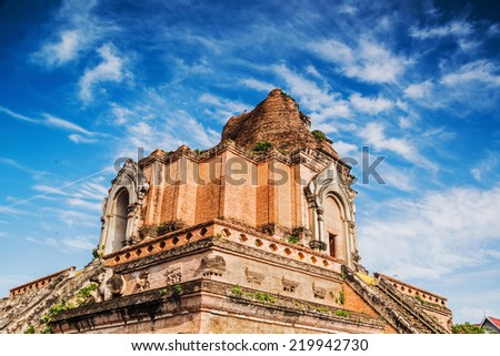Wat Chedi Luang, a Buddhist temple in the historic centre of Chiang Mai, Thailand