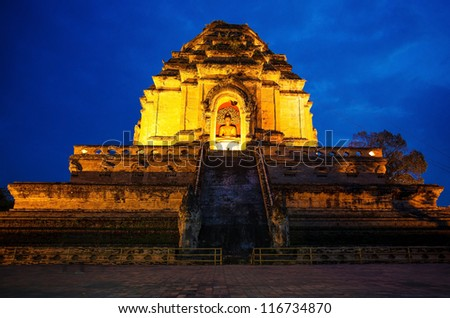 Wat Chedi Luang in the evening. Chiang Mai, Thailand. - stock photo