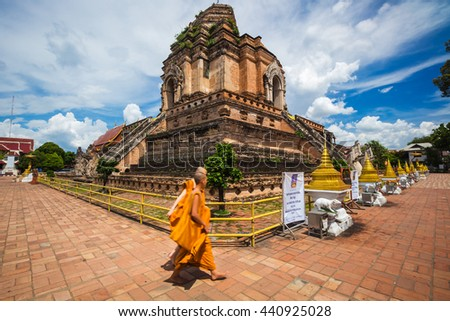 Wat Chedi Luang is a Buddhist temple in the historic centre of Chiang Mai, Thailand. Photography Day June 22, 2016. - stock photo