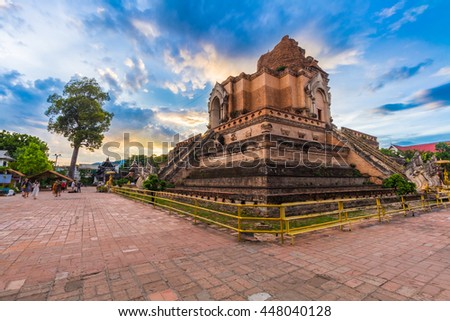 Wat Chedi Luang is a Buddhist temple in the historic centre of Chiang Mai, Thailand. Photography Day June 20, 2016.