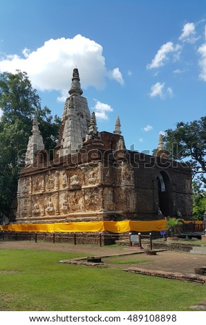 Wat Chet Yot or Wat Photharam Maha Wihan, Buddhist temple in Chiang Mai, the northern Thailand, national treasure or public domain