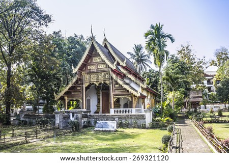 Wat Chiang man, an ancient buddhist temple at Chiang Mai, Thailand. - stock photo