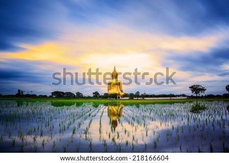 Wat Muang with gilden giant big Buddha statue in Thailand - stock photo
