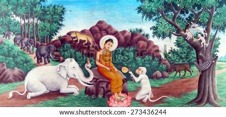 WAT NOKOR, CAMBODIA - FEB 9, 2015 -  Buddha tames the mad elephant, Wat Nokor, 8th century,  Cambodia - stock photo