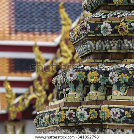 Wat Pho known also as the Temple of the Reclining Buddha is a royal temple of the first grade, one of ten such temples in Bangkok and 23 in Thailand - stock photo