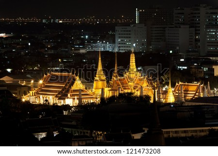 Wat Pho Temple at night with beautiful sky