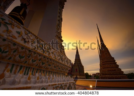 Wat-Pho Temple, sunset in Bangkok, Thailand. - stock photo
