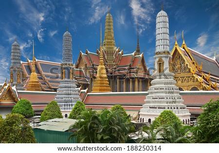 Wat Phra Kaeo, Temple of the Emerald Buddha Bangkok, Asia Thailand - stock photo