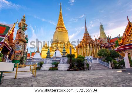 Wat Phra Kaew Ancient temple in bangkok Thailand - stock photo