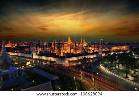 Wat Phra Kaew at night and street, bangkok, Thailand. - stock photo
