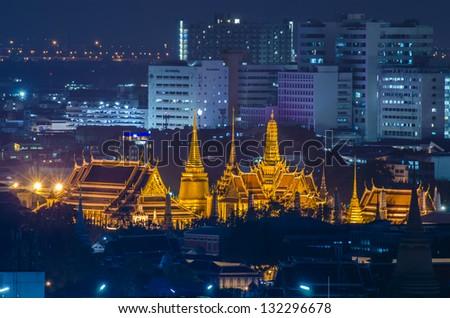 Wat Phra Kaew, Bangkok, Thailand at night. - stock photo