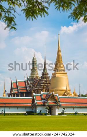 Wat Phra Kaew Famous Temple Of the Emerald Buddha Bangkok, Thailand - stock photo